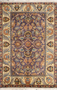 4'x6' Decorative Purple Wool Hand-Knotted Rug
