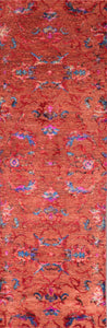 "2'9""x9'10"" Decorative Red & Pink Wool & Silk Hand-Knotted Rug - Direct Rug Import 