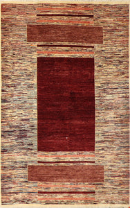 "5'5""x8'4"" Contemporary Ivory & Red Wool Hand-Knotted Rug"