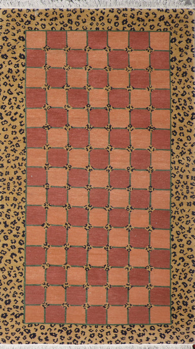"5'x8'4"" Contemporary Peach-Green  Tibetan Wool Hand-Knotted Rug"