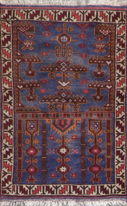 "2'9""x4'7"" Persian Tribal Navy Wool Hand-Knotted Rug"