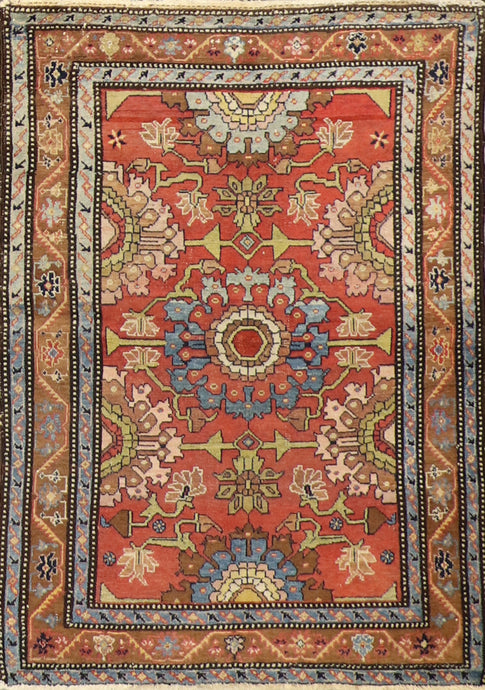 "3'5""x4'9"" Tribal Persian Antique Rust Wool Hand-Knotted Rug"