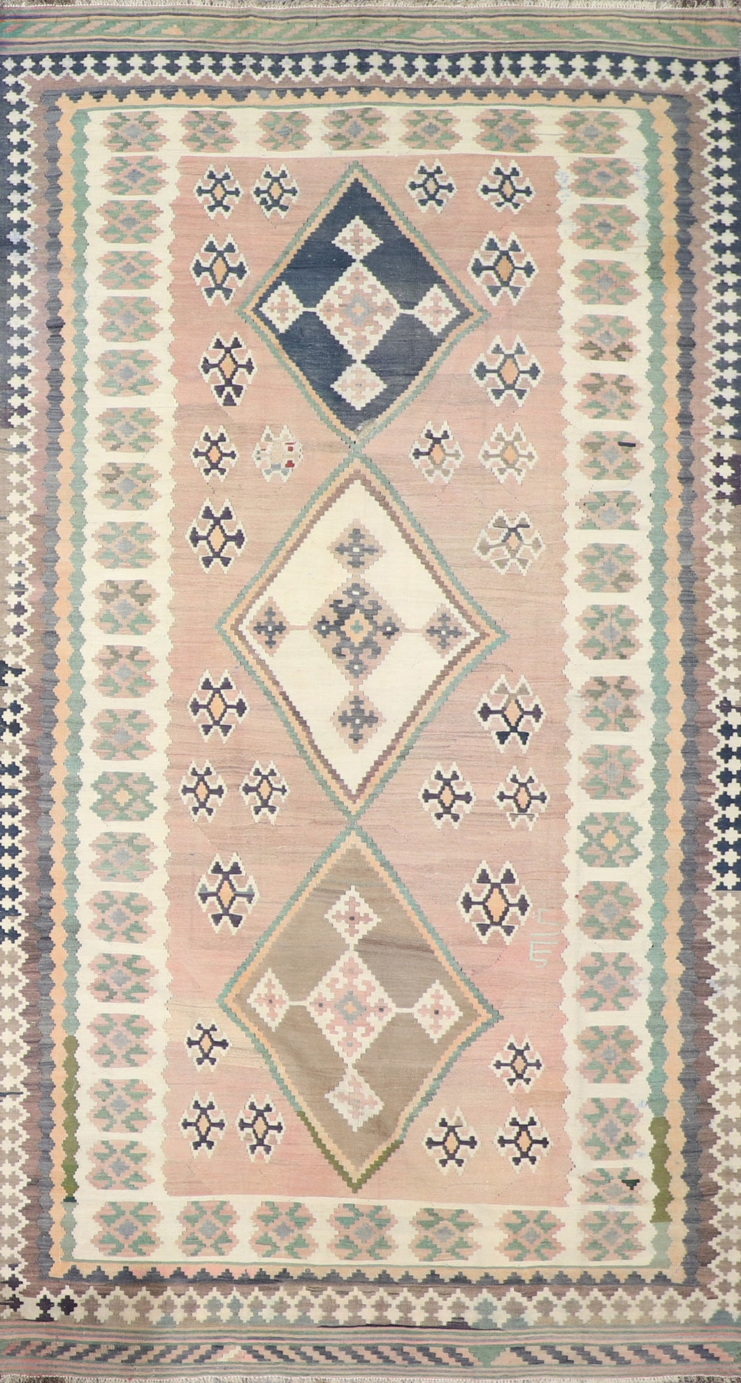 "5'2""x9' Persian Kilim Brown Wool Hand-Knotted Runner"