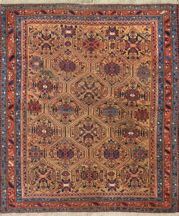 "5'3""x6' Tribal Persian Antique Tan Wool Hand-Knotted Rug"
