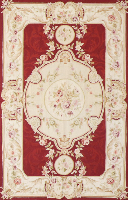 4'x6' Needlepoint Red Wool Hand-Knotted Rug