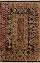 "Load image into Gallery viewer, 4'x6'1"" Decorative Red Wool Hand-Knotted Rug"