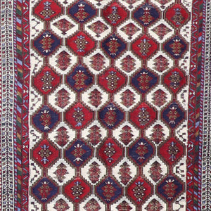 "3'3""x4'9"" Kilim Red Wool Hand-Knotted Rug"