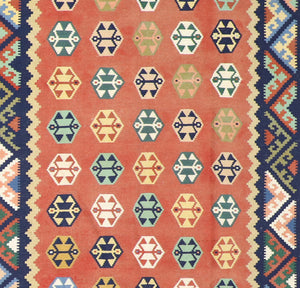 "6'10""x8'6"" Persian Kilim Orange Wool Hand-Knotted Rug"