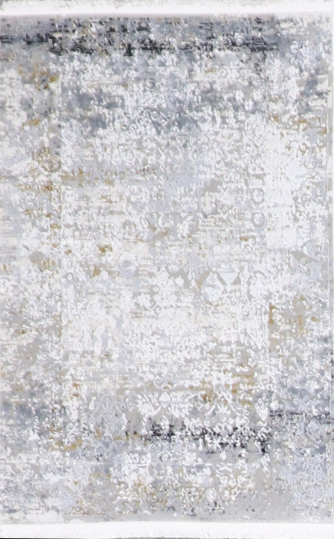 "1'11""x3' Transitional Gray Wool & Silk Hand-Finished Rug"