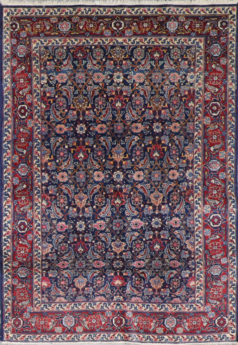 "4'6""x6'3"" Antique Farahan Navy Tribal Wool Hand-Knotted Rug - Direct Rug Import 
