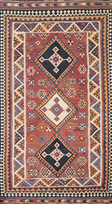 "5'5""x9' Persian Kilim Brown Wool Hand-Knotted Rug"