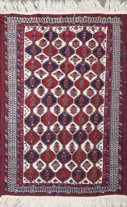 "3'3""x4'9"" Persian Kilim Red Wool Hand-Knotted Rug"