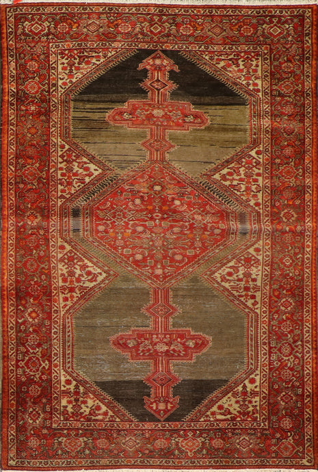 "4'5""x6'7"" Tribal Persian Antique Red Wool Hand-Knotted Rug"