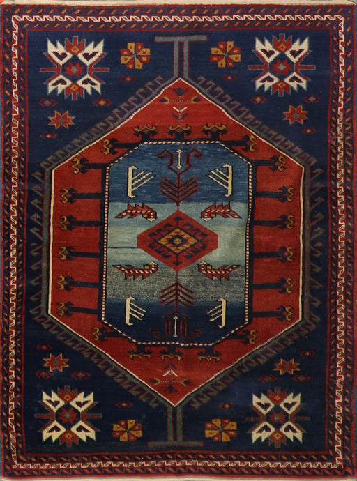 "3'7""x4'11"" Tribal Persian Antique Blue Wool Hand-Knotted Rug"