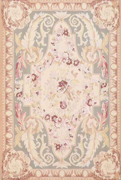 "4'1""x6'1"" Aubusson Ivory Wool Hand-Knotted Rug"