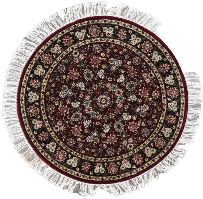 3'x3' Traditional Burgundy Wool Hand-Knotted Rug