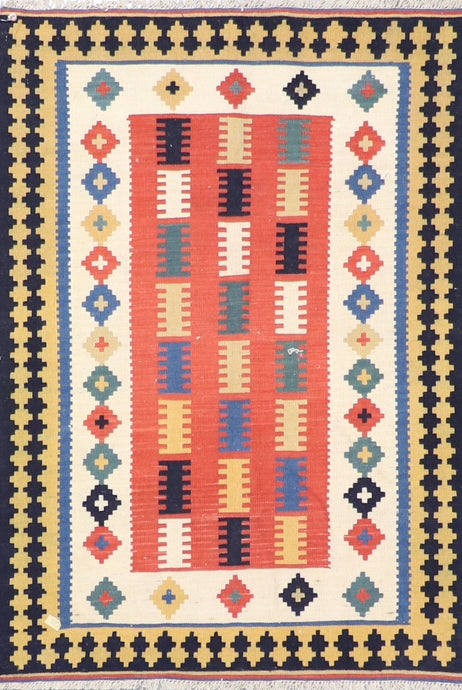"3'4""x5' Persian Kilim Orange Wool Hand-Knotted Rug"
