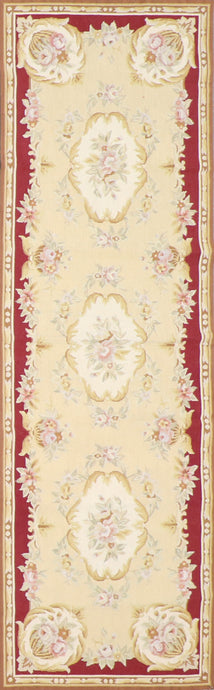 "2'5""x7'11"" Needlepoint Ivory Wool Hand-Knotted Tapestry"