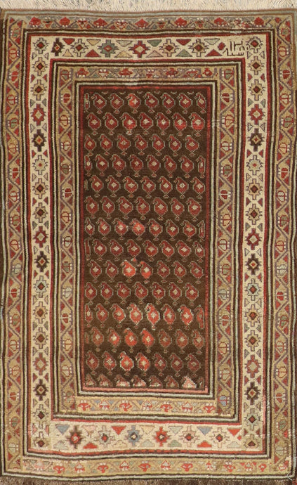 "3'2""x5' Tribal Persian Antique Brown Wool Hand-Knotted Rug"