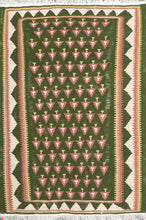 "Load image into Gallery viewer, 3'7""x5' Decorative Green Wool Hand-Knotted Rug - Direct Rug Import 