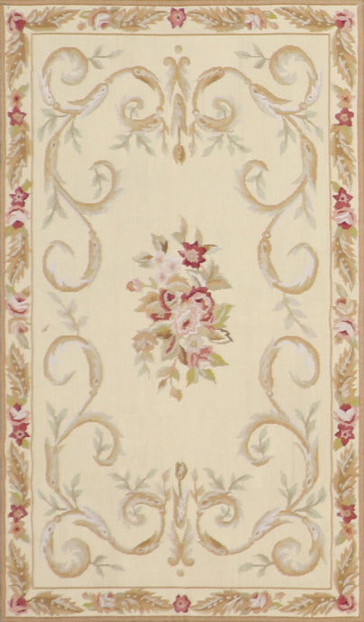"3'x4'11"" Needlepoint Gold Wool Hand-Knotted Rug"