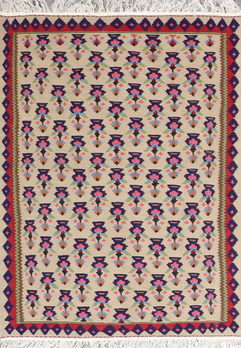 "3'4""x4'10"" Persian Kilim Tan Wool Hand-Knotted Rug"