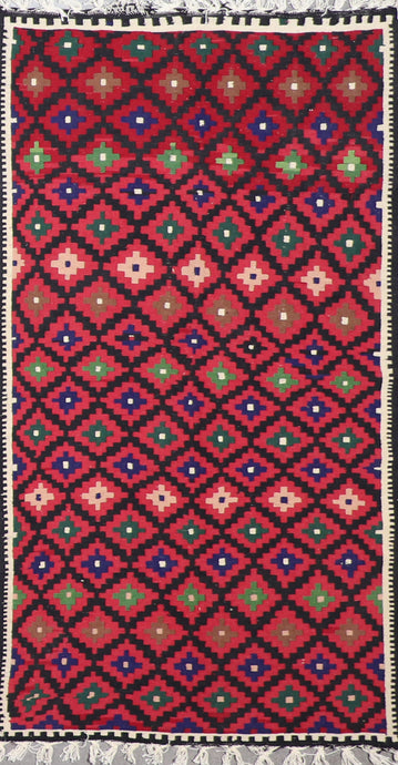 "3'4""x6'2"" Persian Kilim Red Wool Hand-Knotted Rug"