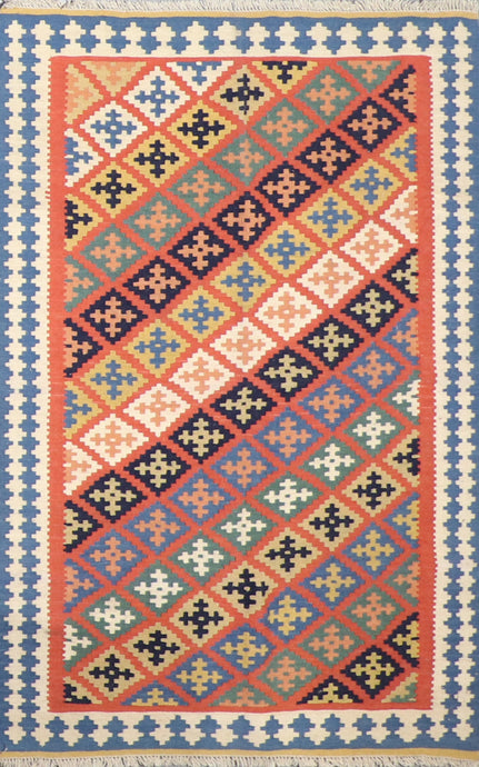"3'4""x5' Persian Kilim Multi-Colored Wool Hand-Knotted Rug"