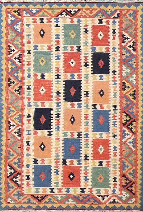 "3'11""x5'10"" Persian Kilim Ivory Wool Hand-Knotted Rug"
