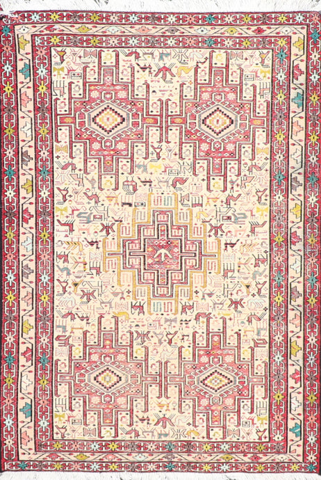 "3'2""x4'11"" Egyptian Ivory Wool Hand-Knotted Kilim"