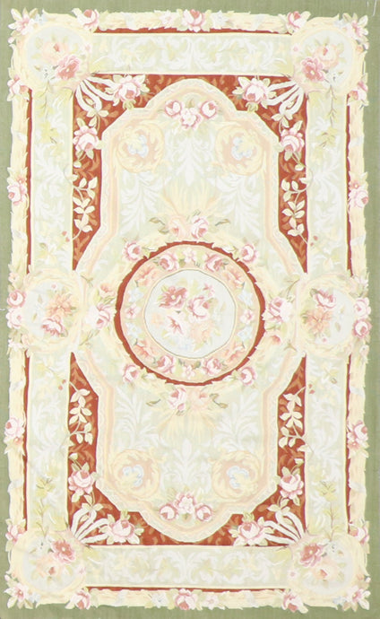 "3'1""x5' Aubusson Green Silk Hand-Knotted Rug"