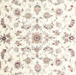 "8'x9'6"" Traditional Ivory Wool & Silk Hand-Knotted Rug - Direct Rug Import 