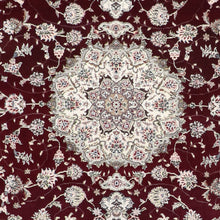 "Load image into Gallery viewer, 6'3""x8'10"" Traditional Burgundy Tabriz Wool & Silk Hand-Knotted Rug - Direct Rug Import 
