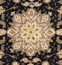Load image into Gallery viewer, 5'x8' Traditional Tabriz Madeline Black Wool & Silk Hand-Tufted Rug - Direct Rug Import | Rugs in Chicago, Indiana,South Bend,Granger