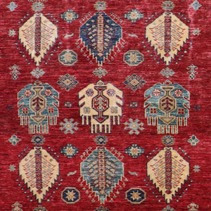 "4'9""x6'4"" Decorative Red Kasak Wool Hand-Tufted Rug - Direct Rug Import 