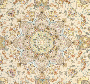 "9'11""x9'11"" Decorative Round Wool & Silk Hand-Tufted Rug - Direct Rug Import 