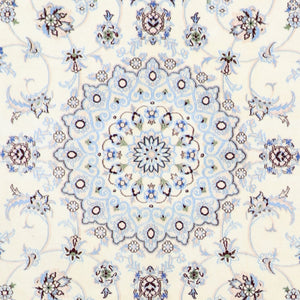 "6'3""x9'3"" Traditional Blue Naieen Wool & Silk Hand-Knotted Rug - Direct Rug Import 