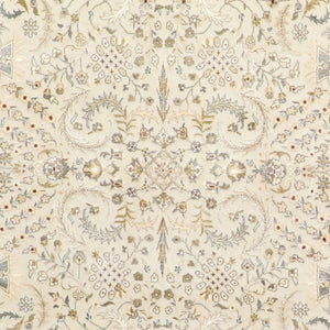 "5'9""x8'2"" Traditional Ivory Tabriz Wool & Silk Hand-Knotted Rug - Direct Rug Import 