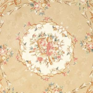 "8'6""x8'6"" Decorative Tan Aubusson Wool Hand-Tufted Rug - Direct Rug Import 