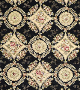 "8'6""x11'5"" Traditional Tabriz Black Wool & Silk Hand-Tufted Rug - Direct Rug Import 