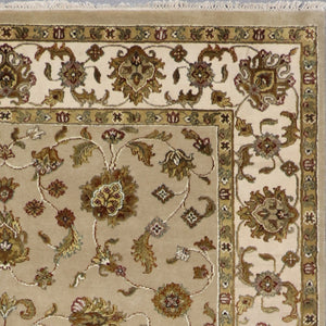 "6'x8'11"" Traditional Tan Tabriz Wool & Silk Hand-Knotted Rug - Direct Rug Import 