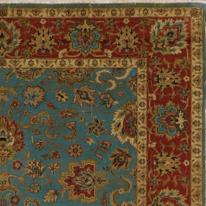 "6'1""x8'9"" Traditional Teal Classic Wool&Silk Hand-Knotted Rug - Direct Rug Import 