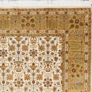 "5'7""x8'4"" Decorative Ivory Bejar Wool & Silk Hand-Knotted Rug - Direct Rug Import 