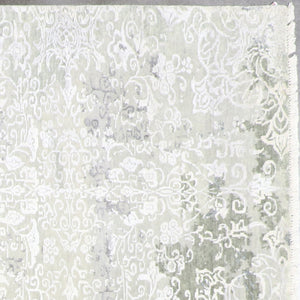 "8'x9'9"" Transitional Gray Wool & Silk Hand-Knotted Rug - Direct Rug Import 