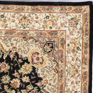 5'x8' Traditional Tabriz Madeline Black Wool & Silk Hand-Tufted Rug - Direct Rug Import | Rugs in Chicago, Indiana,South Bend,Granger