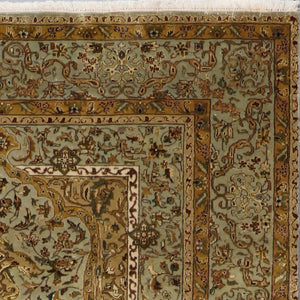 "5'8""x7'8"" Traditional Green Tabriz Wool & Silk Hand-Knotted Rug - Direct Rug Import 