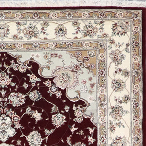 "6'3""x8'10"" Traditional Burgundy Tabriz Wool & Silk Hand-Knotted Rug - Direct Rug Import 
