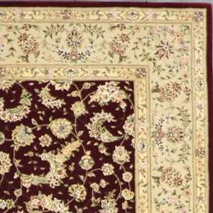 "7'8""x9'10"" Traditional Tabriz Burgundy Wool & Silk Hand-Tufted Rug - Direct Rug Import 
