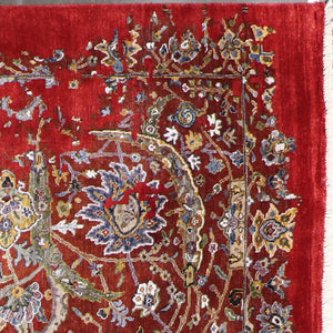 "7'8""x9'9"" Transitional Red Wool & Silk Hand-Knotted Rug - Direct Rug Import 