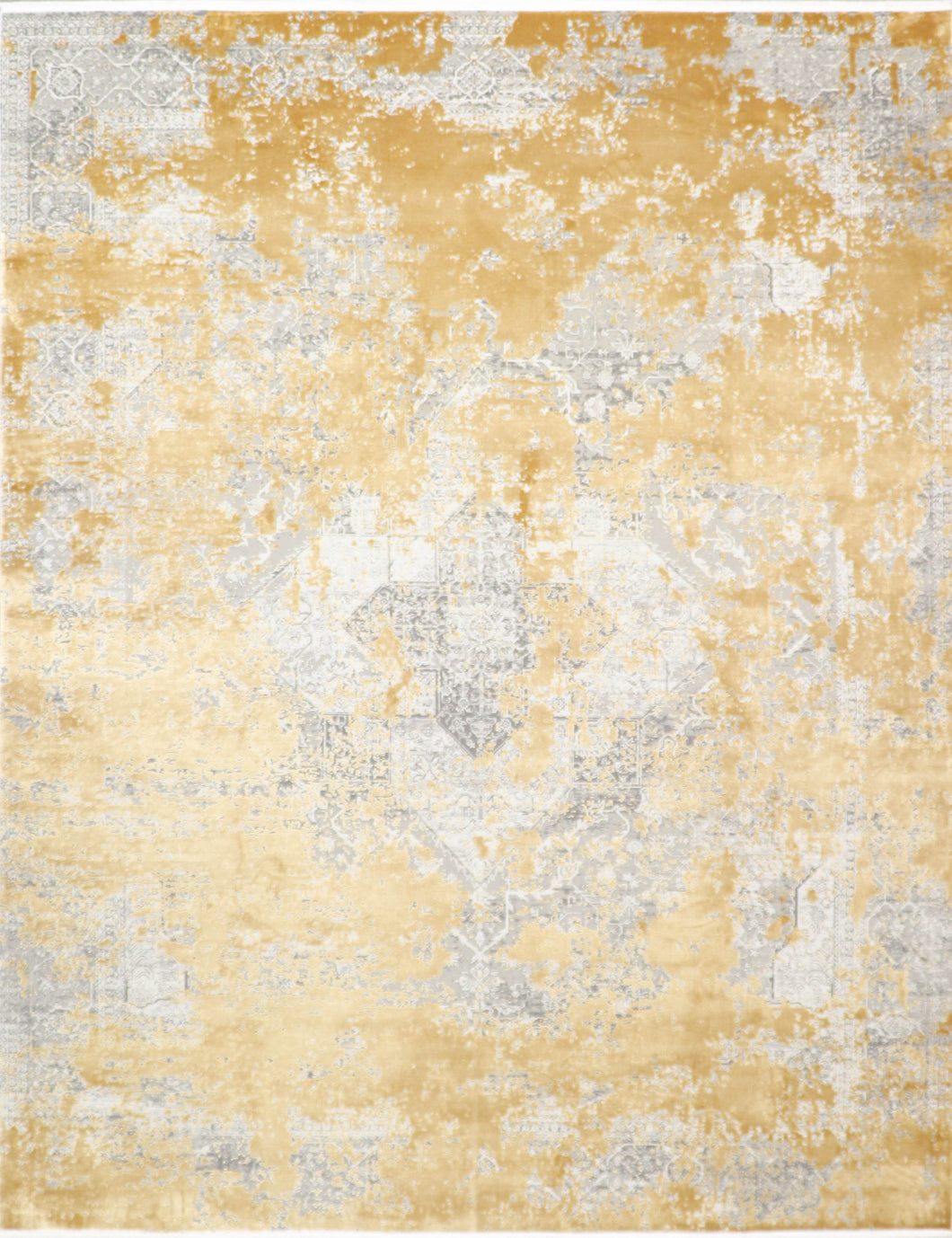 "7'8""x9'9"" Transitional Gray Wool & Silk Hand-Knotted Rug"